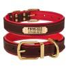 Ошейник для Собак Кожаный BronzeDog Premium с Литой Латунной Фурнитурой и Адресником Коричнево-Красный