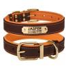 Ошейник для Собак Кожаный BronzeDog Premium с Литой Латунной Фурнитурой и Адресником Коричнево-Оранжевый