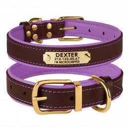Ошейник для Собак Кожаный BronzeDog Premium с Литой Латунной Фурнитурой и Адресником Коричнево-Фиолетовый