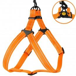 Шлея для Собак BronzeDog Active Нейлоновая со Светоотражением Оранжевая