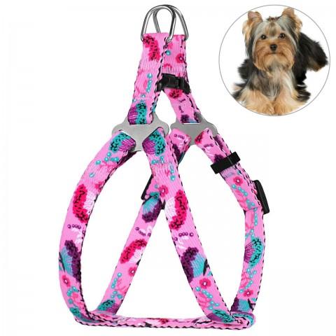 Шлея для Собак Мелких Пород BronzeDog Urban Цветы Розовая