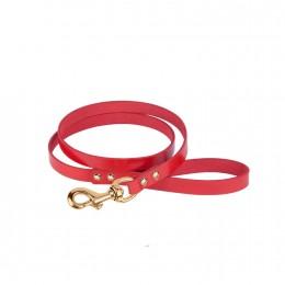 Поводок для Собак Кожаный BronzeDog Premium с Литой Латунной Фурнитурой Красный