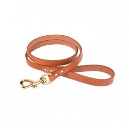 Поводок для Собак Кожаный BronzeDog Premium с Литой Латунной Фурнитурой Горчичный