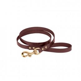 Поводок для Собак Кожаный BronzeDog Premium с Литой Латунной Фурнитурой Коричневый