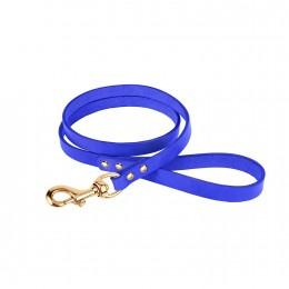 Поводок для Собак Кожаный BronzeDog Premium с Литой Латунной Фурнитурой Фиолетовый