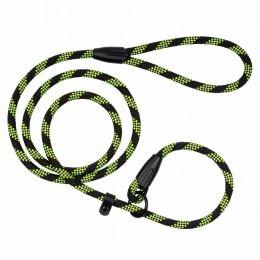 Поводок-Удавка для Собак Bronzedog Active из Альпинистского Шнура Светоотражающий Черно-Салатовый