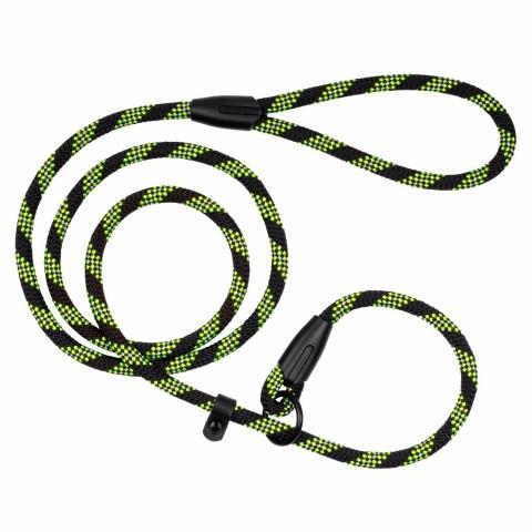 Поводок Удавка для Собак Bronzedog Active из Альпинистского Шнура Светоотражающий Черно-Салатовый