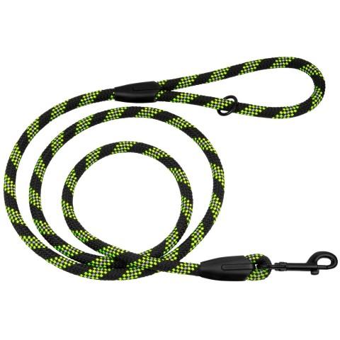 Поводок для Собак Bronzedog Active из Альпинистского Шнура Светоотражающий Черно-Салатовый