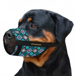 Намордник для собак Bronzedog нейлоновый регулируемый Ромбы
