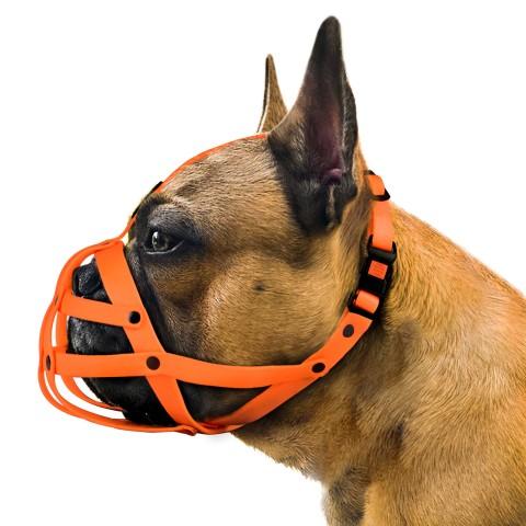 Намордник Bronzedog водоотталкивающий биотановый французский бульдог оранжевый