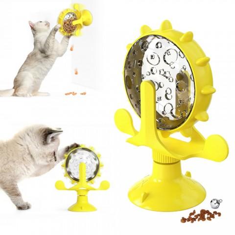 Игрушка  для котов Bronzedog  PetFun Кормушка на присоске желтая